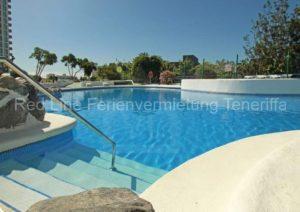 Teneriffa Ferienwohnung. Studio mit Pool, Balkon und Meerblick in Playa Paraiso